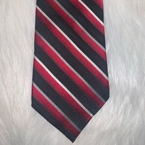 Stanford red black stripe silk tie A